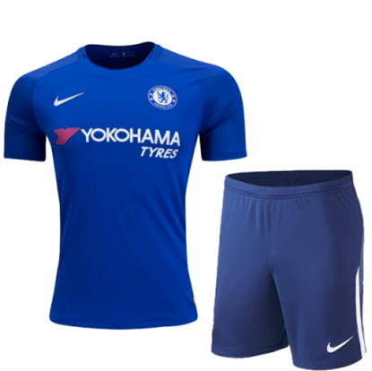 Picture of 2017-18 Chelsea Home Club Half Sleeve Jersey with pant