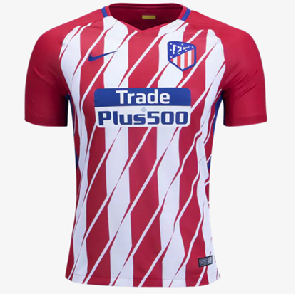 Picture of 2017/18 Atletico Madrid Home Half Sleeve Jersey