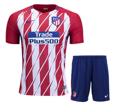 Picture of 2017/18 Atletico Madrid Home Half Sleeve Jersey With Pant