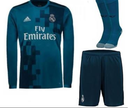 Picture of  2017-18 Real Madrid Third Away Full Sleeve Jersey With Pant