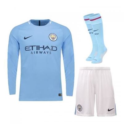 Picture of 2017-18 Manchester City Home Full Sleeve Jersey With Pant