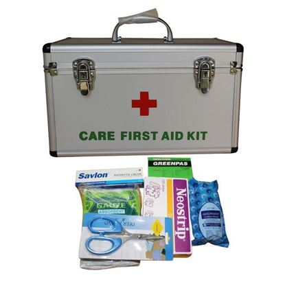 Picture of Silver First Aid Kit Box With First Aid Items