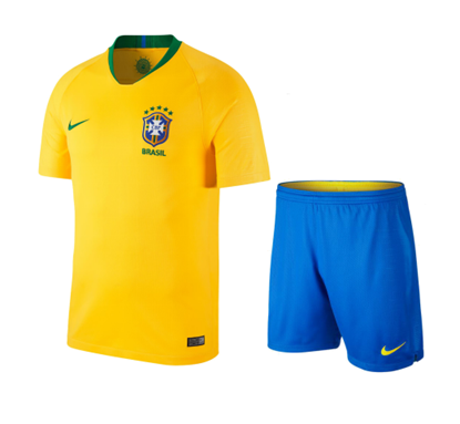 Picture of Brazil Home World Cup Short Sleeve Jersey With Pant 2018 - Yellow