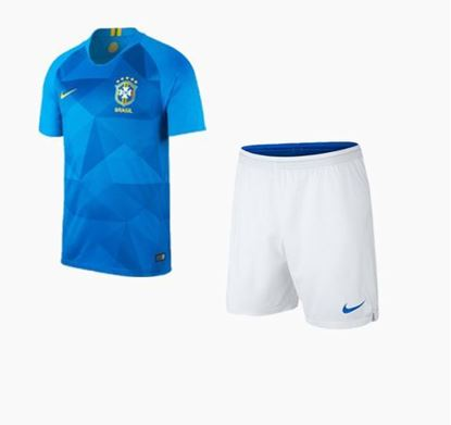 Picture of Brazil Away World Cup Short Sleeve Jersey With Pant 2018 - Light Blue