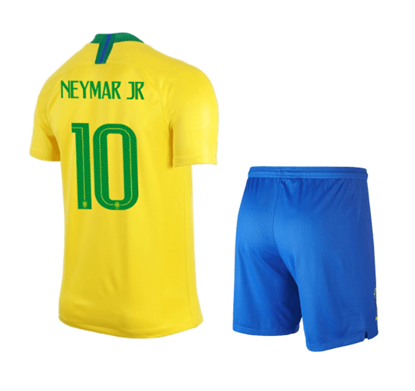 Picture of Brazil Neymar Jr 10 Home World Cup Short Sleeve Jersey With Pant 2018