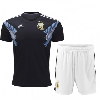 Picture of Argentina Away World Cup Short Sleeve Jersey with Pant 2018 - Black