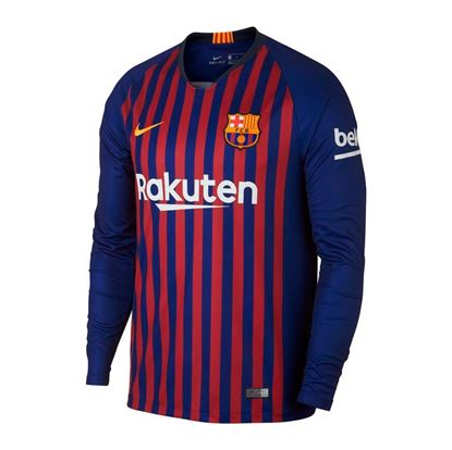 Picture of 2018-19 Season Barcelona Home Long Sleeve Jersey-Mesh Cotton