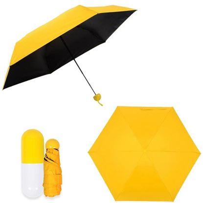 "Picture of 7"" Mini Folding Umbrella with Cute Capsule Case - Yellow"
