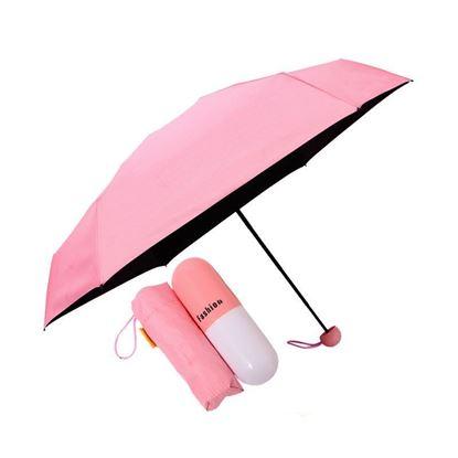 "Picture of 7"" Mini Folding Umbrella With Cute Capsule Case -Color Pink"