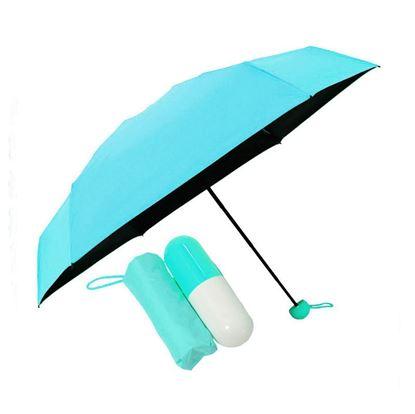 "Picture of 7"" Mini Folding Umbrella with Cute Capsule Case - sky blue"