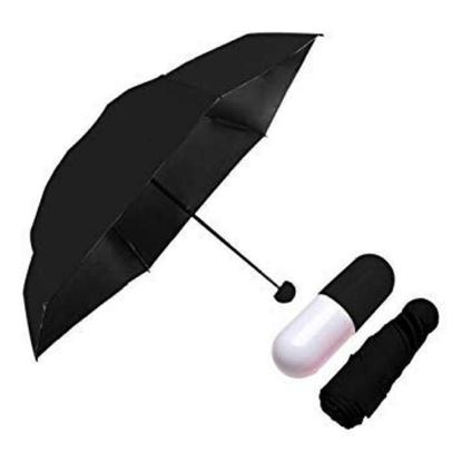 Picture of Exclusive Fashionable Polyester Umbrella With Cute Capsule Case -Black