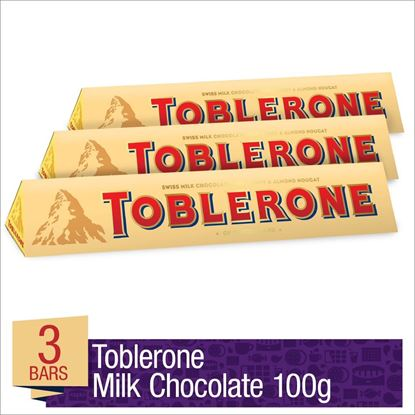 Picture of Toblerone Milk Chocolate 3 pcs - 100g each