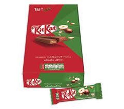 Picture of Kit Kat Crunchy Hazelnut. 18 pc's Box Weight : 351 gm √Origin : UAE